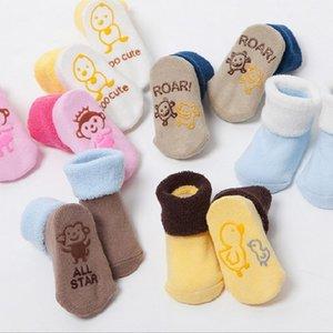3 пары / набор хлопчатобумажные детские носки для ребёнка ребёнок мальчик царави калькутины bebe bebe bebline newborn младенца против скольжения напольные носки kf034 y201009