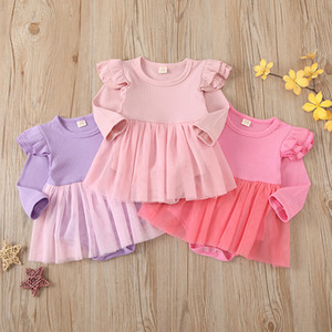 3 Colors Infant Girls Bodysuits Fly Sleeve Solid Pit Striped Romper Dress Newborn Baby jumpsuit Clothes M3278