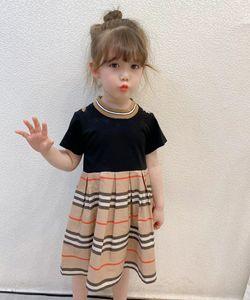 Designer Girls Letter Plaid dresses 2021 Children Stripe Short Sleeve Dress Kids lattice pleated dress A5154