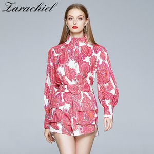 Runway Retro Print Holiday Shorts Set Women Stand Lantern Sleeve Shirts Blouses + Pocket Belt Mini Pant Set Female 2 Piece Set 201022