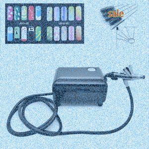 Value Set Airbrush Kit Pen corps peinture maquillage Pistolet pour la peinture à ongles avec 5 * Brosse de nettoyage 1 * Compresseur d'air 1 * 2 * Cheval Stencil uwFz #