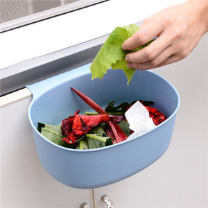 Porta plástico pendurado lixeiras cor sólida Lidless Lidless lata Cozinha Cozinha Bathroom Quarto Desperdício Cesta Removível Venda Quente 1 29QH G2