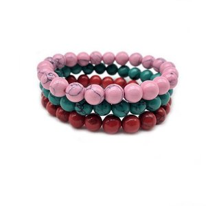 High Quality Green Red pink Natural Turquoises Stone Bracelet Homme Femme Charms 8MM Men Strand Beads Yoga Bracelets Women