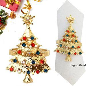 Arbre de Noël Anneaux d'or d'argent serviette anneaux en métal de Noël Napkin restaurant Serviettes Décoration de Noël Serviette de table Décoration