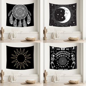 Home Tapestry Black And White Dream Catcher Printed Home Furnishing Wall Hanging Background Cloth Beach Sitting Blanket DHL Free