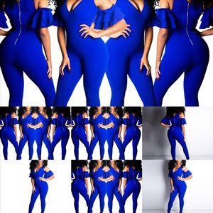 2PK2 Ruffle Casual Fashion Tie Dye twooutfits Mujeres Pantalón de la mujer Jumpsuit de las mujeres Black Dos Pie P Cult Top y Moda Larga