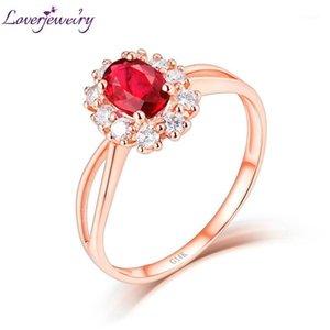 Loverjewelry Anéis para Mulheres Sólido 14kt Rosa Centro de Gold Ruby Gemstone Anniversary Partido de Casamento Anéis Diamantes Fine Jewelry1