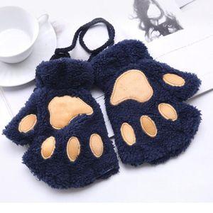 1Pair Women Girls Lovely Winter Warm Fingerless Gloves Fluffy Bear Cat Plush Claw Half Finger Gloves Mitten New Warm