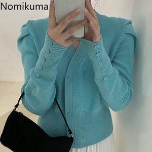 Nomikuma Autunno New Women Donne Cappotto Cappotto Cappotto Coreano a maniche lunghe con scollo a V Slim Short Cardigan Cardigan Maglione Giacca 6C490 201130