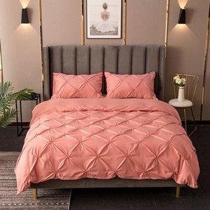 3D Stereo Elastic pitada Sólidos Pleat Breve cama Set Rainha King Size Lençois Set Consolador Tampa Com fronha Pl98 #