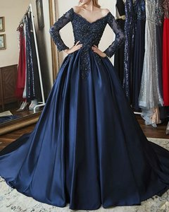 evening Ball Gown Sparkle Blue Quinceanera Prom Dress Off Shoulder Long Sleeve Chapel Train Satin with Beading Appliques