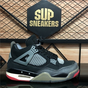 Top Quality Cream Sail Bred Union Off Nior Jumpman 4 Mens Basketball Shoes Cactus Jack White Cement Men Women Guava Lce Sports Sneakers