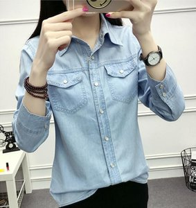 Autumn Women Casual Jeans Long Sleeve Blouse Fashion Slim Denim Shirt Tops Office Female Clothing Denim Blusas Mujer Y200930