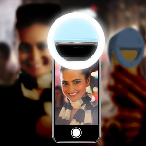 KISSCASE Selfie LED Ring Flash Light For Mobile Phone Lens Selfie Lamp Luminous Clip Lamp Camera Spotlight Lens