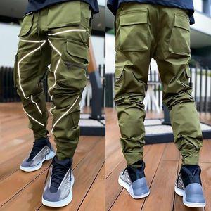 2020 New Youth Popular Men's Loose Reflective Strip Printing Overalls Fashion Casual Pants man sportswear luminous pencil pants