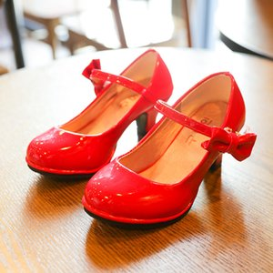 Bekamille Couro Autumn Bowtie 2020 novas crianças Sapatos Salto Alto Princesa Sandals doces para meninas SZ107