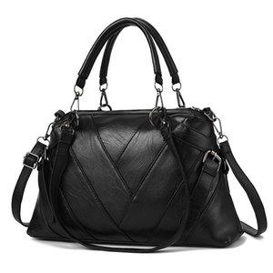 HBP não-marca saco de medição de moda feminina bolsa de mão de couro macio contraste de cor grande capacidade de ombro mulheres versátil f