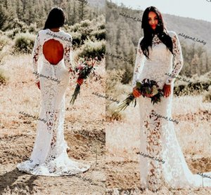 Bohemian Mermaid Backless Wedding Dresses 2021 Full Lace Applique Illusion Long Sleeve Country Hippie Trumpet Bridal Gowns