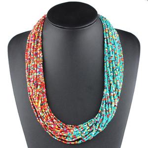 Claire Jin Frauen böhmische Halskette Zwei Ton Kleine Perle Boho Schmuck Multi Layer Mode Kontrast Farbe Ethnisches Zubehör