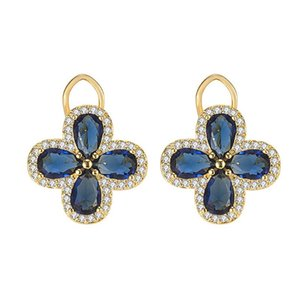 Vintage Royal Clover Blue Crystal Sapphire Gemstones Diamonds Stud Earrings for Women Gold Color Jewelry Bijoux Party Accessorie