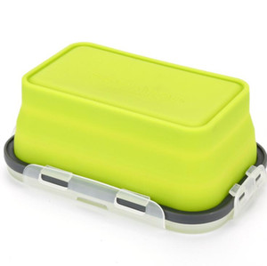 Floding lunch boxes student portable bento box 6 Colors food grade silicone food storage containers 350ml 500ml 800ml 1200ml GGE1841