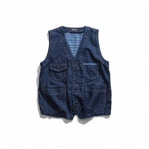 Gilet Denim Uomini Giapponese Vintage Blue Mens Multi Pocket Gilet Design originale Moda con scollo a V senza maniche Jacches DS50647 A1GC #