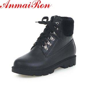 Anmairon autunnowinter stivali scarpe donna stivali caldi scarpe tacco basso scarpe caviglia per donna lace-up corta piattaforma peluche