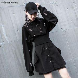 ويتني وانغ 2020 الخريف أزياء الشارع الشهير بروش التطريز مقنع البلوز المرأة هوديس البلوز 1