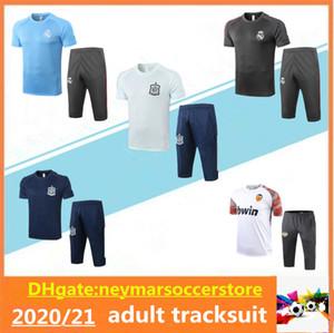 20 21 레알 마드리드 축구 반소매 훈련 정장 2020 2021 스페인 발렌시아 Maillot de Football Tracksuit