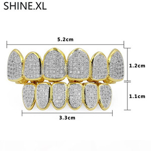 Gold Silver Plated Hip Hop Vampire Teeth Grillz Top and Bottom Iced Out Micro Pave CZ Stone Bling Body Jewelry