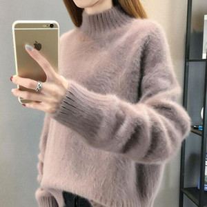 Sweater Women Turtleneck Pullover Jumper Imitated Mink Wool Sweater Languid Loose Sweter Women Clothes Vestidos