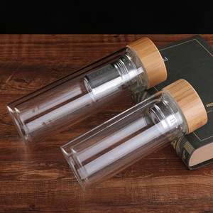 Tapa de bambú portátil Tazas de agua Doble vidrio de vidrio té taza de té colector Infusor Cesta de vidrio Botellas de agua transparentes VT1805