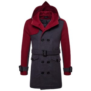 Men Winter Cashmere Overcoat Warm Double Breasted Hooded High Quality New Hooded Wool Trench Coat Wool Belt Long Overcoat