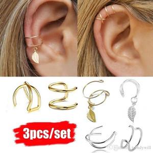 3pcs  Set Simple Ear Cuffs For Women Silver Gold Leaf Ear Cuff Earring Climbers Cross Ear Clip No Piercing Fake Cartilage Earring