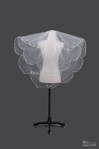 В наличии Большой Discount !! Bridefashion Pearl 2 слоя Красивые Сборки Тюль Свадебные Veil Свадебные украшения Бесплатная доставка