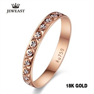 18k Pure Gold Ring Women Rose Engagement Wedding Bands Jewelry Carved Design Real Solid 750 Party Trendy 2020 New Hot Good