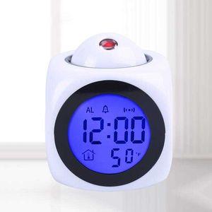 Digital Clock Freeze Speaker Attention Projection Weather LED Snooze Alarm Clocks Color Display LED Bell Timer Kids Bedroom Bedside Wake Up