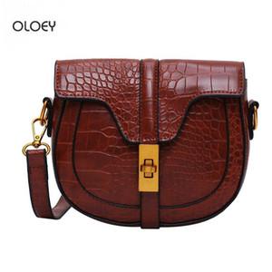 OLOEY New autumn and winter women's crocodile pattern saddle bag fashion simple retro shoulder bag Messenger clutch
