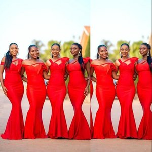 2021 New Cheap African Black Girl Mermaid Bridesmaid Dresses Convertible Straps Off Shoulder Plus Size Maid Of Honor Wedding Party Prom Gown