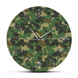 Camouflage Modern Design Silent Acrylic Printing Clocks Living Room Home Decor Army Solider Quartz Reloj Pared Military Saat