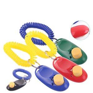 Pulsante cane Clicker Pet Sound Trainer con Wrist Band Aid Guida di scatto dell'animale domestico di addestramento cani Strumento Forniture 11 colori 100pc