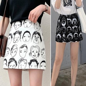 2020 New Military Girl Portrait Plaid Face Print High Waist Satin Pleated Satin Mini Skirts Women Modern Saia Plissada Polyester