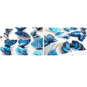 12 adet Renkli Çift Katmanlı Kanatlar 3D Kelebek Duvar Sticker Mıknatıs PVC Kelebekler Parti Çocuk Yatak Odası Buzdolabı Dekor Bbypyv