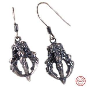 Orecchini di temperamento d'argento S925 argento goccia orecchio retrò stile nazionale donne della moda Vajra pestello orecchini tailandesi