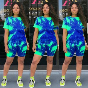 Tie Dye Ladies Suits Fashion Trend Summer Short Sleeve Shorts Two Piece Sets Designer New Female Loose Casual Round Neck Tracksuits