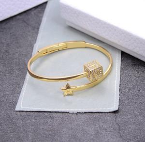 2020 NEW Friendship bracelet popular fashion bracelet letter dice Bracelet brass pearl inlaid diamond logo visible