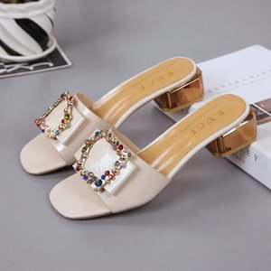 Colorful Rivet Ladies Shoes Fashion Mules Women Shoes Woman Female Slides Peep Toe Sexy Slippers Causal Low Heels