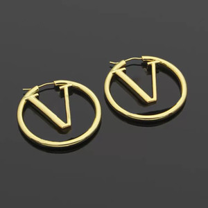 BIG SIZE 1.75 inch Fashion gold cc hoop earrings for lady women Party wedding lovers gift engagement jewelry With BOX