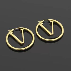 Grande tamanho 1.75 polegadas moda ouro cc brincos de aro para senhora mulheres festa amantes casamento presente jóias de noivado com caixa