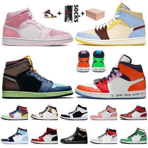 С Box 2020 Mens Женщины Jumpman 1 1s Баскетбол обувь Retro Digital Pink Бесстрашный Maison Chateau Rouge High OG Bio Hack Кроссовки Кроссовки